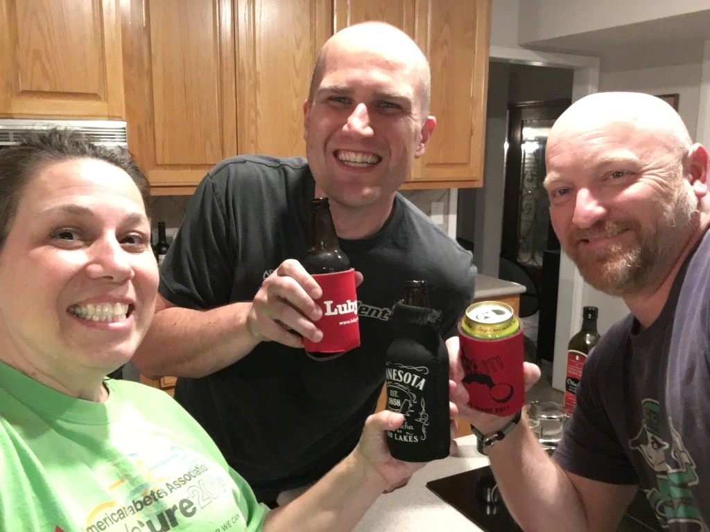 Cheers to the buyer (wife still in Sweden) of our house!! The Luby's koozie is the best part of this picture. :)